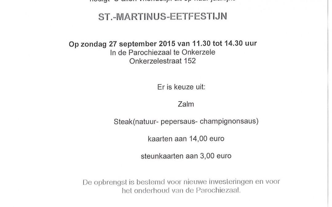 Welkom op Sint-Martinus eetfestijn Onkerzele op zondag 27 september 2015